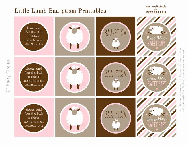 """Host a sweet little """"baa-ptism"""" with free lamb printables in two color sets: pink and blue! Everything you need for a sweet party!"""