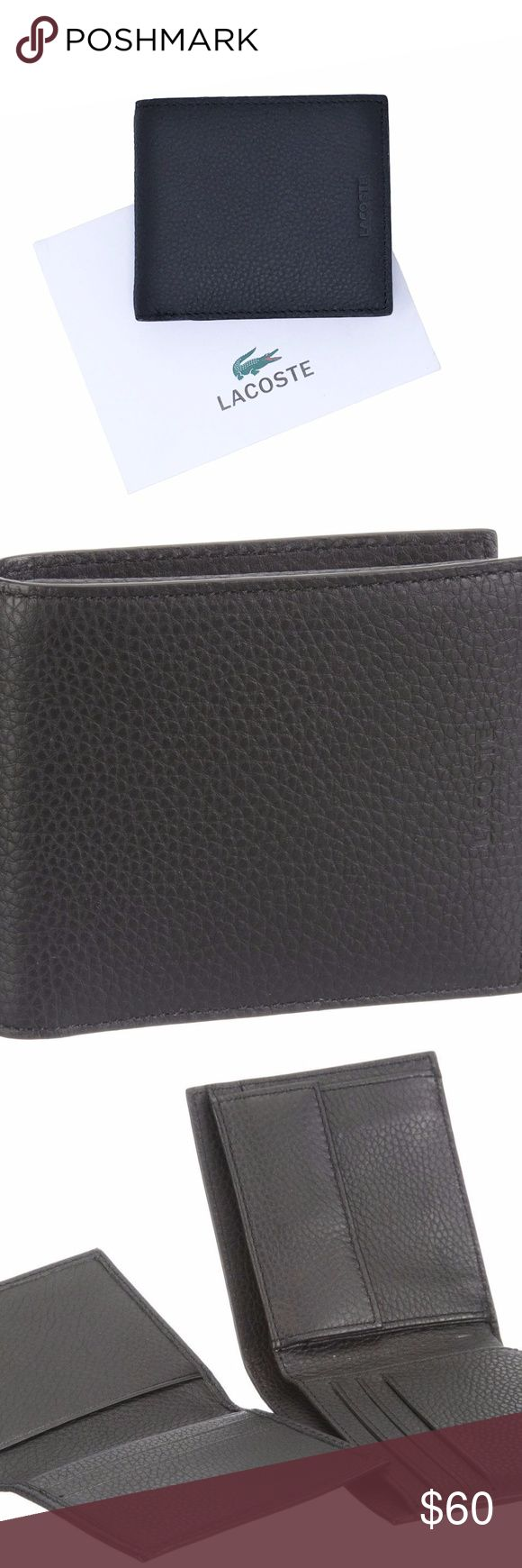 Lacoste Passcase Coin Pocket Leather Bifold Wallet New in box Lacoste leather passcase bifold wallet in black.  Features coin pocket with snap button closure.  Interior features 3 card slots, 1 billslot, and 2 slip pockets. Removable passcase features 2 card slots and 2 slip pockets. Lacoste gift box included. Lacoste Bags Wallets