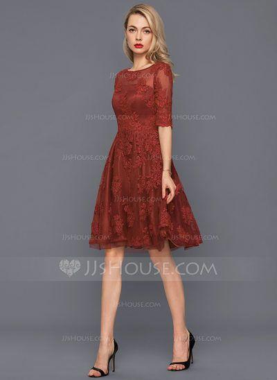 ab97d17695  US  150.00  A-Line Princess Scoop Neck Knee-Length Tulle Lace Cocktail  Dress (016140372)
