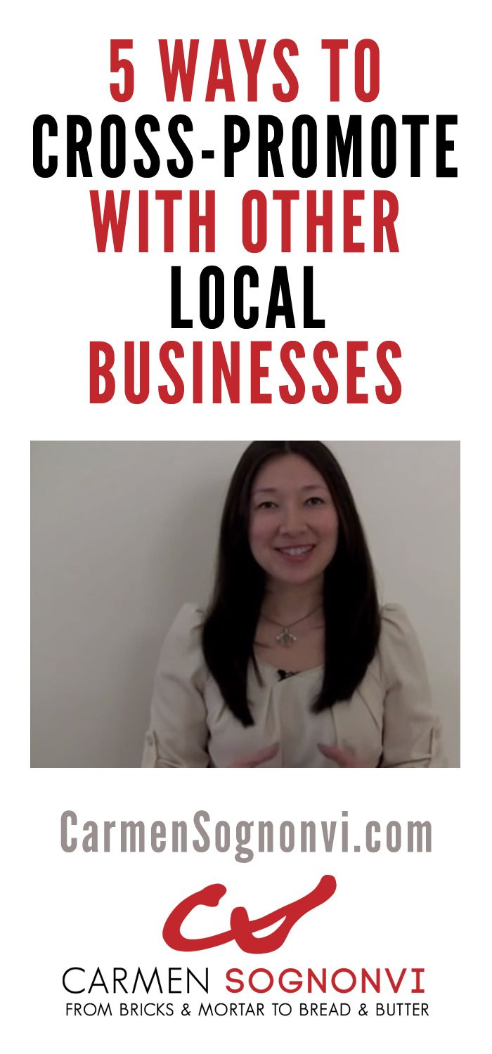 Do you want to stretch your marketing dollar? Then you should be cross-promoting with other businesses. In this video, small business speaker and blogger Carmen Sognonvi shares 5 cross-promotion examples to use in your local business. #smallbusiness CLICK here to watch: http://www.carmensognonvi.com/cross-promotion-examples/