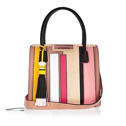 Pink stripe boxy tote handbag £42.00