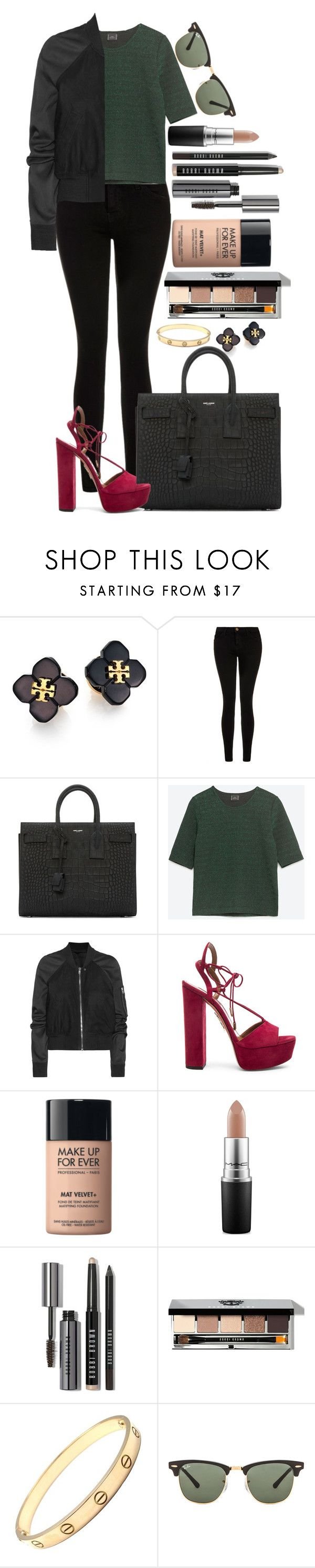"""""""Untitled #1456"""" by fabianarveloc ❤ liked on Polyvore featuring Tory Burch, Current/Elliott, Yves Saint Laurent, Zara, Rick Owens, Aquazzura, MAKE UP FOR EVER, MAC Cosmetics, Bobbi Brown Cosmetics and Cartier"""