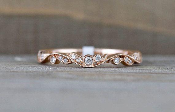 14k Rose Gold Vintage Vine and Filigree Dainty Diamond Milgrain Band Wedding Anniversary Love Ring Band Vintage Thin