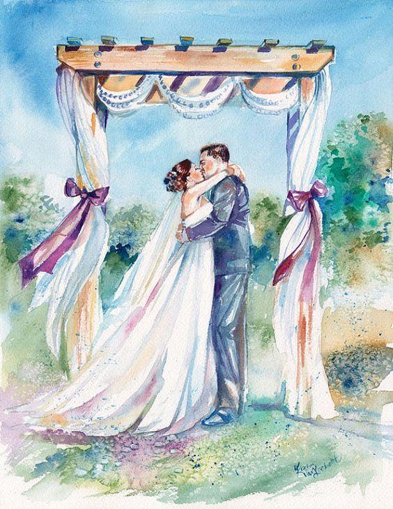 жених и невеста картинки акварелью более что оригинальных