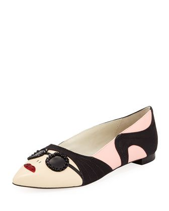 Stacey Face Pointy Flat, Soft Pink by Alice + Olivia at Bergdorf Goodman.
