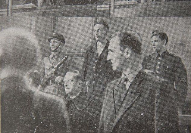 Trial: Göth, pictured at his war crimes trial in 1946, was convicted of homicide for 'personally killing, maiming and torturing a substantial, albeit unidentified number of people.' He was sentenced to death and his last words were 'Heil Hitler'