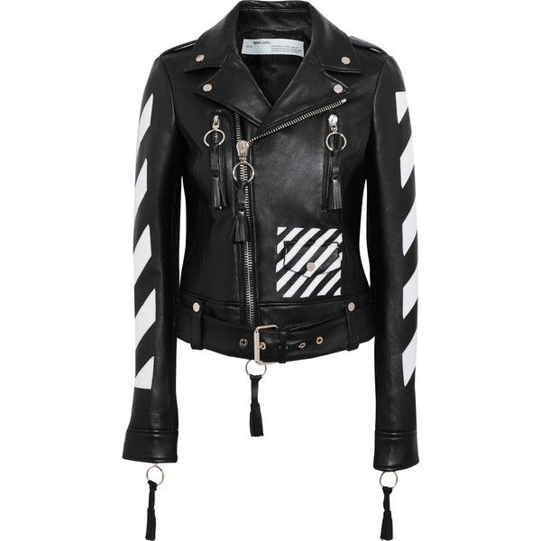Off-White Paneled leather biker jacket ($2,475) ❤ liked on Polyvore featuring outerwear, jackets, black, off white jacket, oversized leather jacket, asymmetrical zip jacket, moto jackets and asymmetrical zipper jacket