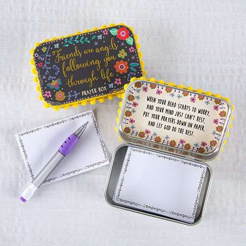"""'Friends Are Angels Following You Through Life' Prayer Box; Includes Tin box, owl motif paper and pen Inspirational message: """"When your head starts to worry, an"""
