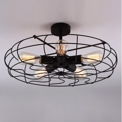 Novelty LOFT Industry Wrought Iron Fan Close to Ceiling Light