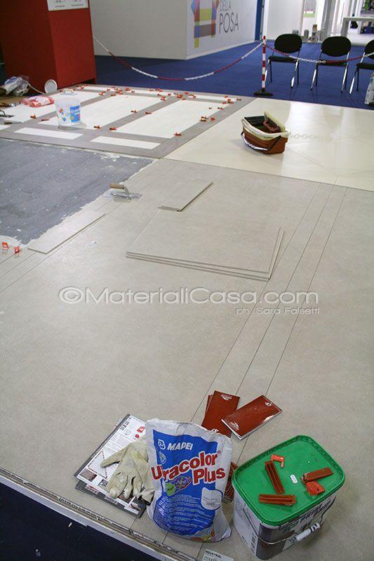 """Alla """"Città della Posa"""" #Mapei mostra come posare nel modo corretto le piastrelle in grande formato e basso spessore. #Cersaie"""
