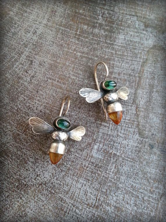 Bespoke Honeybee Earrings, Sterling, Tourmaline and Citrine Bullet Cabochon, Apis mellifera Sterling Honeybee Earring, Gemstone Bee Earring