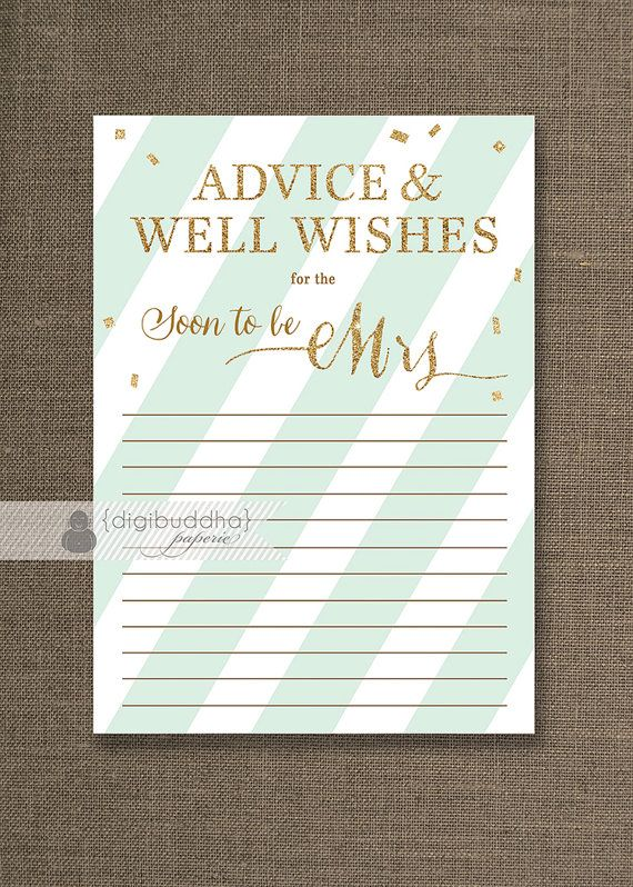 Mint & Gold Glitter Advice Card INSTANT DOWNLOAD 5x7 Soon to Be Mrs Bridal Shower Shabby Chic Advice Mint Green Printable or Printed- Stella style available at digibuddha.com