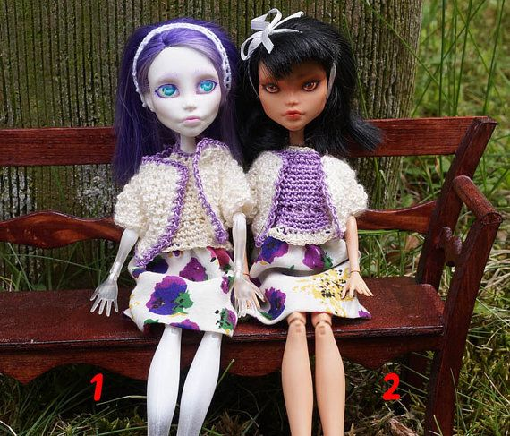 Cream CARDIGAN AND DRESS set for Monster High by ZomiDollClothes