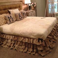 Collection country farm jupe de lit en toile de jute