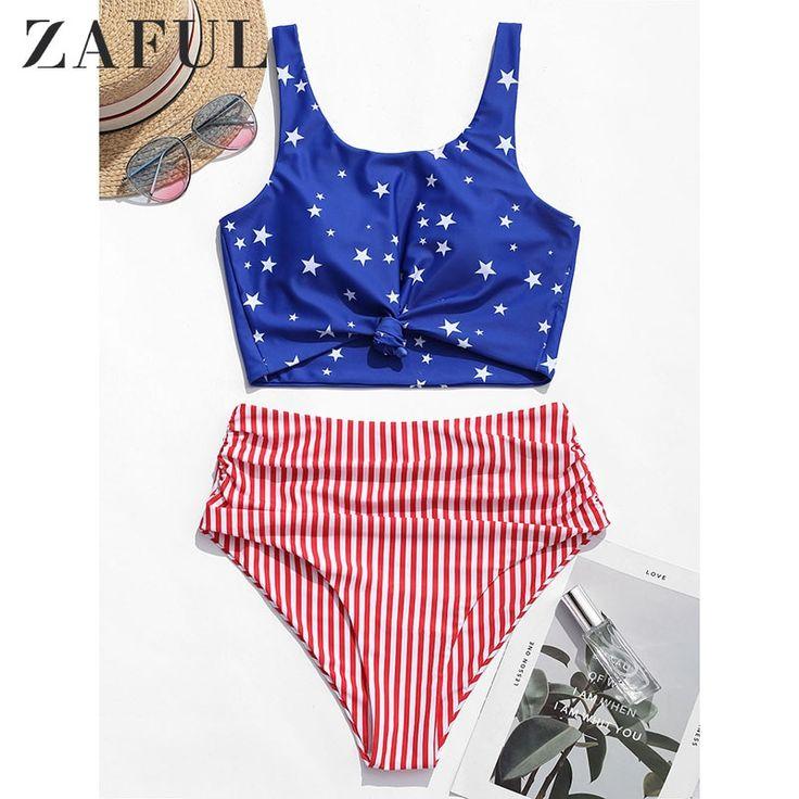 ZAFUL Bikini American Flag Tied Plunging Tankini Beach Women Swimwear Push Up Hi …