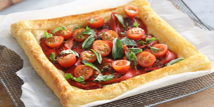 Pre heat oven to 190oC Place the 2 of the defrosted puff pastry sheets on 2 oven trays lined with baking paper. Cut the 3rd sheet into 8 thin strips brush with water and place on the very edge of the other 2 sheets. Brush the raised borders with beaten egg. Brush the centre of...