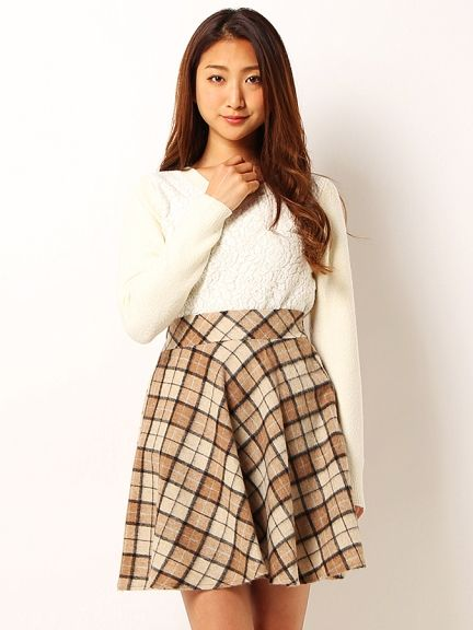 PATTERN fiona(パターン フィオナ)チェックシャギーフレアスカート   ファッション. ファッション レディース ...