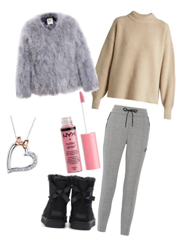 """""""Cold winter day"""" by dizzyyhaileyy ❤ liked on Polyvore featuring The Row, NIKE, UGG, Charlotte Russe and Disney"""