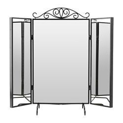 $44.99 IKEA - KARMSUND, Table mirror, hooks behind the side mirrors.Choose whether or not you want the crown on top.The mirror can be hung on the wall. tested and approved for bathroom use.Safety film  reduces damage if glass is broken.