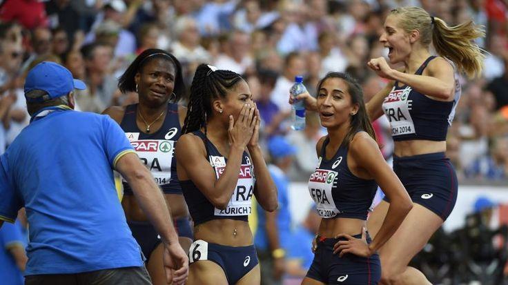 France. Le relais féminin français en finale des championnats d'Europe d'athlétisme, le 17 août 2014 à Zurich (Suisse). | Olivier Morin / AFP