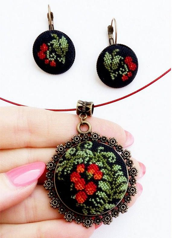 Micro embroidery set red berries of Necklace and Earrings, Hand Embroidery, Gift for women, embroidered jewelry Details This beautiful of red berries Necklace and Earrings, with a hand cross stitch embroidered. A perfect accessory or gift for the delicate and dainty loving lady!