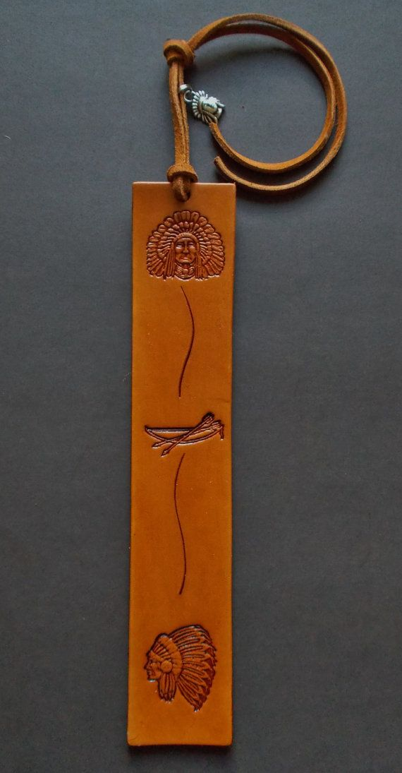 New Hand Stamped Handmade Leather Bookmark Native