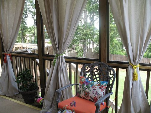 Beautiful Porch Drapes From Canvas Drop Cloths. Yes!