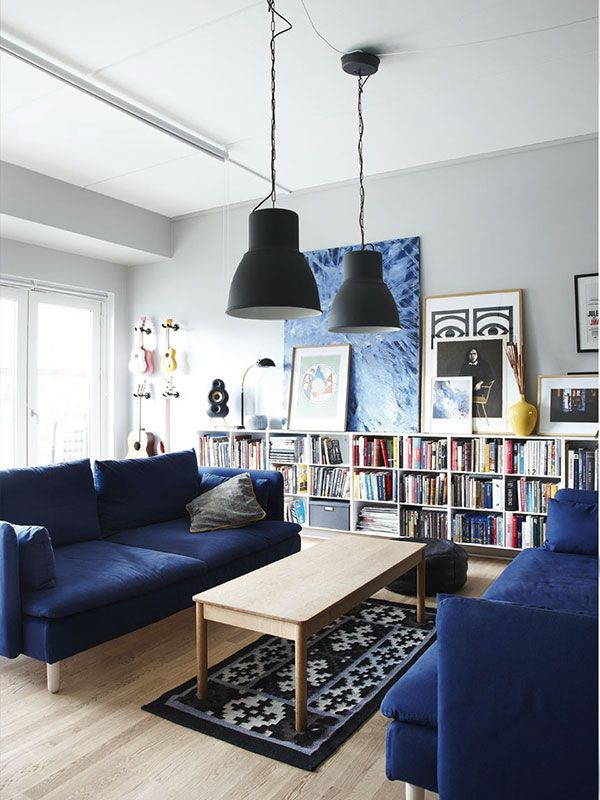 Find this Pin and more on Blue Sofas Applied in a Living Room with Library