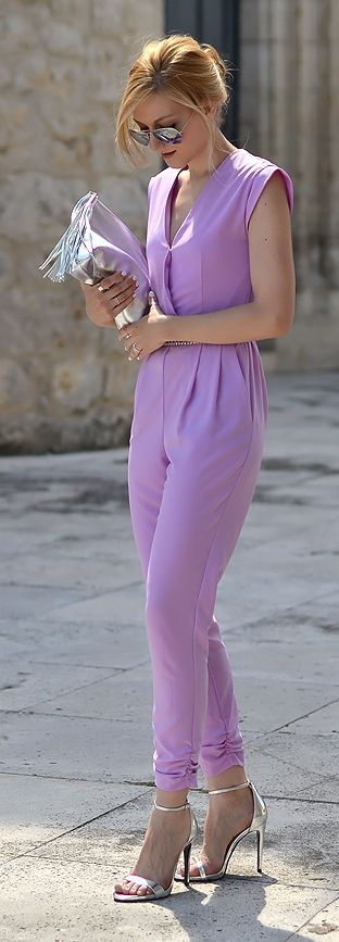 River Island Lilac Ruched Cuff Belted Wrap Front Jumpsuit by Oh My Vogue