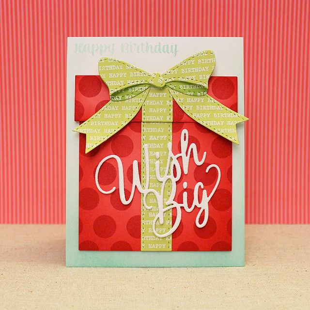 Wish Big Gift Box Card by Lizzie Jones for Papertrey Ink (November 2016)