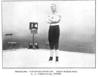 """George Cornelius """"Con"""" O'Kelly (29 October 1886 – 3 November 1947) was an Irish born sport wrestler who competed for Great Britain in the 1908 Summer Olympics, where he won a gold medal. In March 1908 a wall collapsed on him while he was fighting a fire at a sawmill. He recovered from damage to his back and shoulder in time for the 1908 Summer Olympics in London, where he beat Jacob Gundersen for the gold medal."""