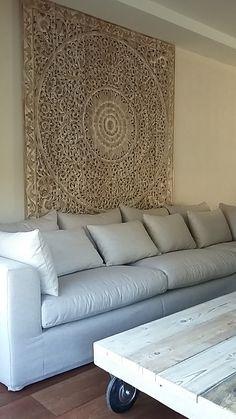 SIMPLY PURE Houtsnijwerk wandpaneel 180x180 cm between white