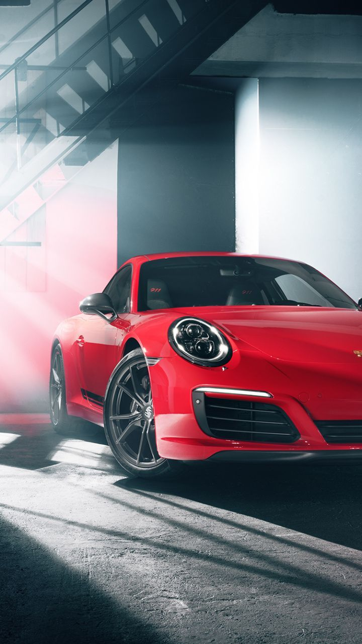 2018 Porsche 911 Carrera T Rouge Voiture De Sport Wallpaper Des Voitures Sports Car Wallpaper Red Sports Car Car Wallpapers