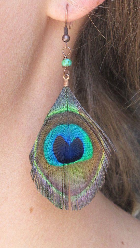 Peacock Feather Earrings, by jUUwelry on Etsy