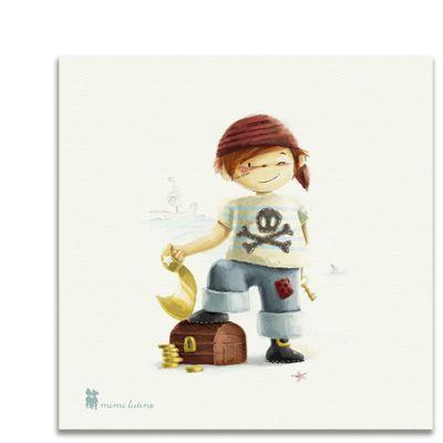 Original cuadro con un simpático grumete pirata con el que decorar la habitación de los niños. Incluye colgador.