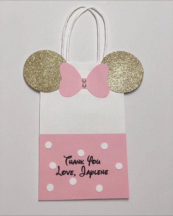 Pink MINNIE MOUSE Drawstring Treat Sack Disney Candy Bag