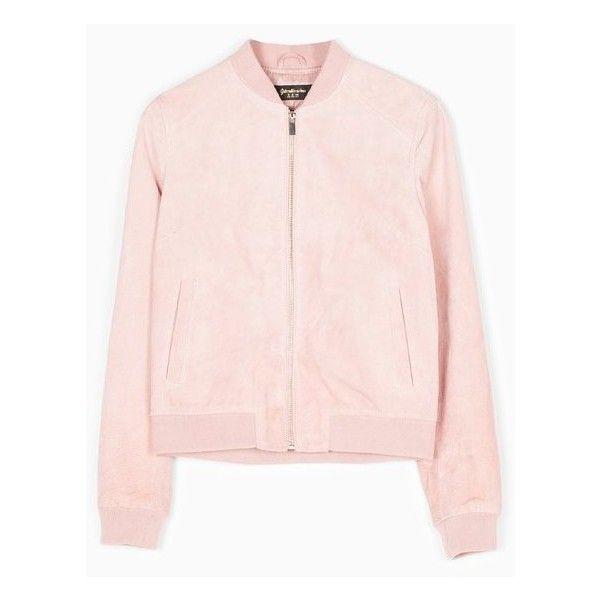 Baseballjacke aus Wildleder - BOMBERJACKEN - DAMEN | Stradivarius... via Polyvore featuring outerwear, coats, bomber, stradivarius, suede bomber jacket, pink jacket, pink suede jacket, suede jacket i pink bomber jacket