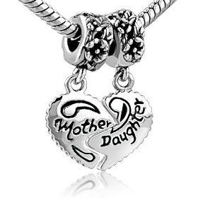 Heart Mother & Daughter Beads Charm- Pandora Charms Bracelet Compatible for K and us to share