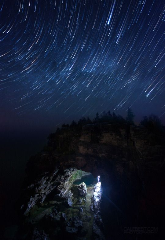 Star Trail over the Grotto at Bruce Peninsula National Park near Tobermory, Ontario. Shot between 12:42 and 2:09am. May 17, 2015.