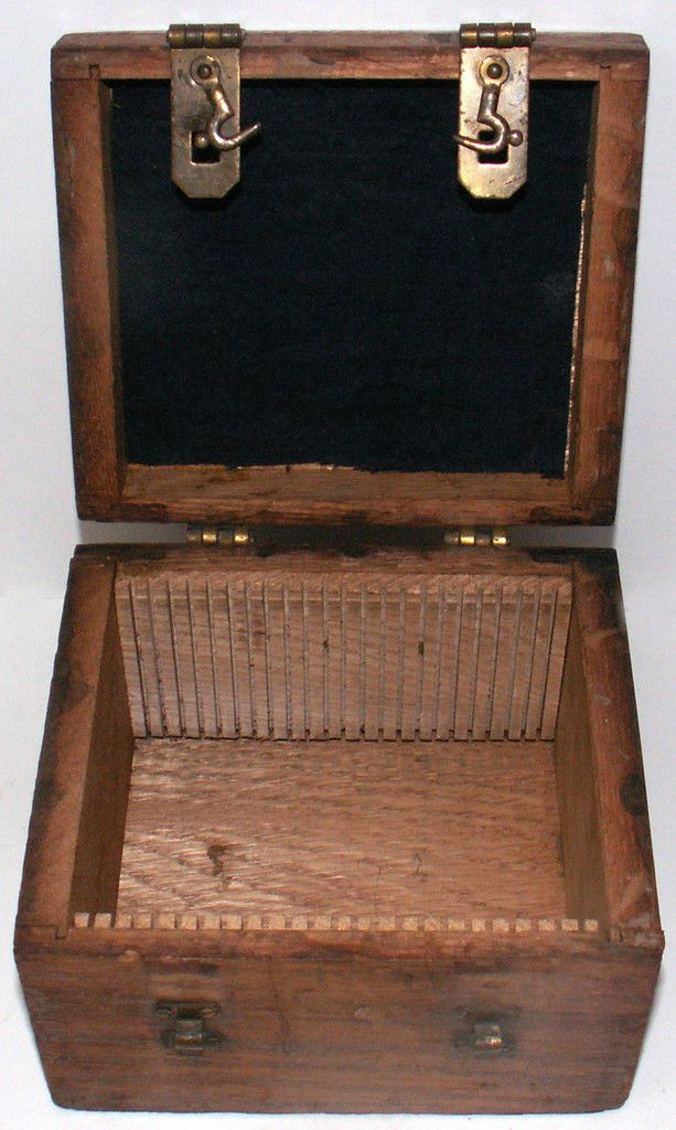 "Antique Hand Made Wooden Storage Box for 4 3 8""L Glass Negative Plates 