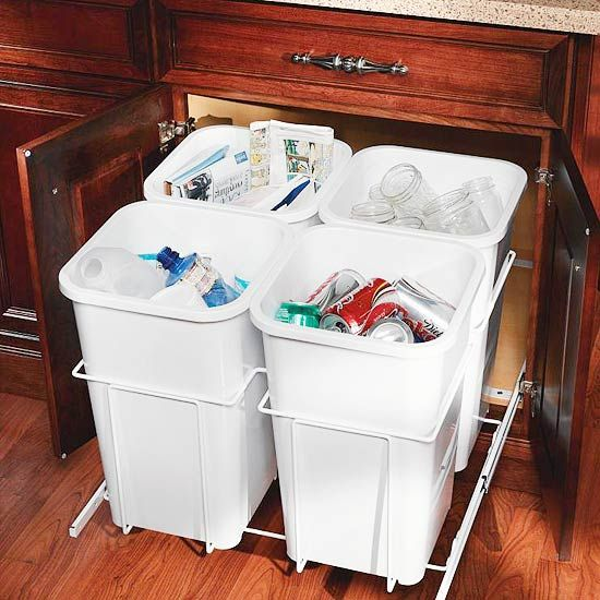Save time (and money, if you live in a state with bottle and can refunds) by presorting your recyclables as you toss them. Partitioned, pullout garbage cans built into these kitchen cabinets make quick work of dividing glass, plastic, paper, and cans.
