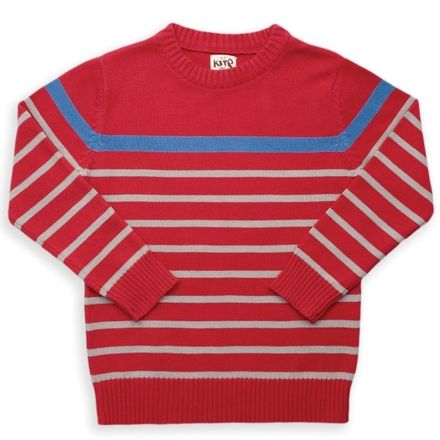 Kite Red Grey Stripy Jumper