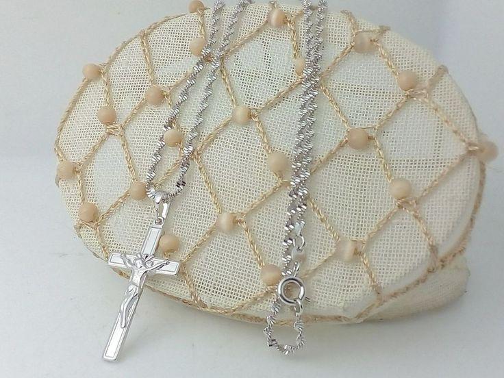 Collana Ciondolo Argento Croce Con Cristo Crocifisso I Gioielli di Vicky Donna