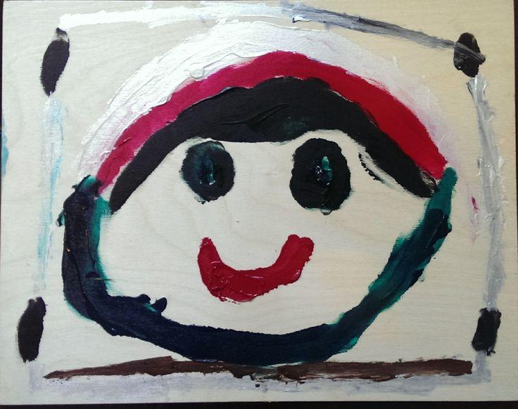 Happy Face  2014 Acrylic on board Artist: 8 year old Kees Cruz-Vanderkraan