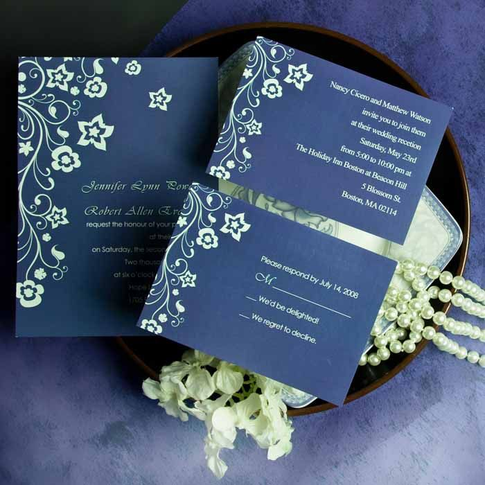 Discount Retro Garden Navy Blue Floral Wedding