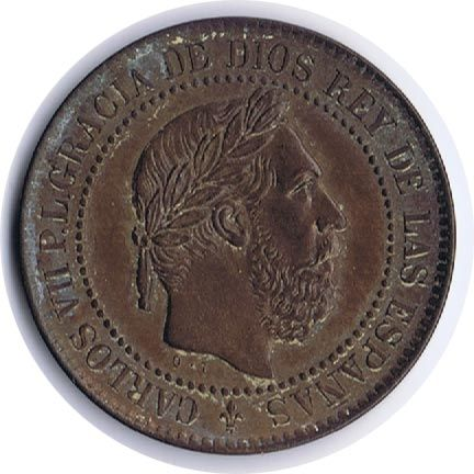5 Centimos 1875 Carlos VII. Bruselas. Cobre.