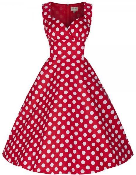 POSHme - LindyBop retro šaty Layla, červené s puntíky