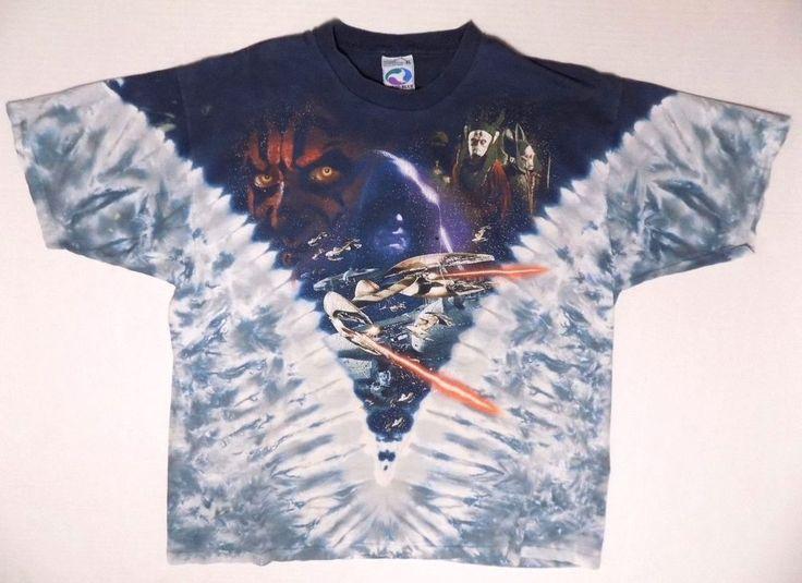 Vintage Liquid Blue Star Wars Tie Dye T Shirt Episode 1 Darth Maul Anakin Holes #LiquidBlue #GraphicTee