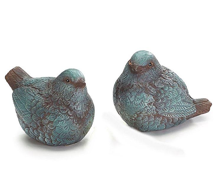 Pair Blue Bird Figurines Resin Brown Grey Undertones Burton+Burton Gift #BurtonBurton