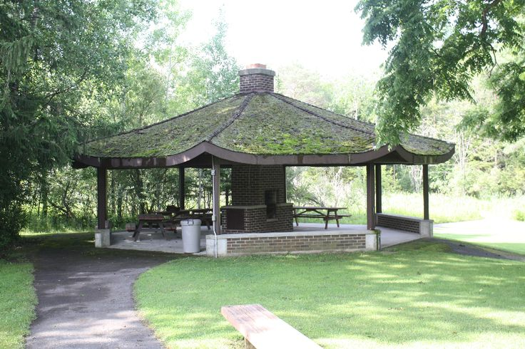 The gazebo with outdoor barbeque